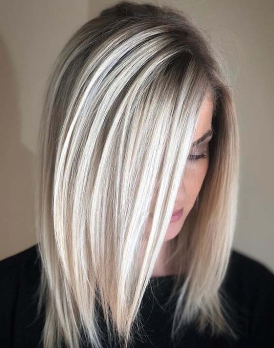 Natural Icy Blonde Hair Colors For Medium length Hair