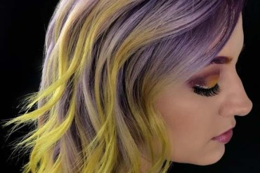 Purple To Yellow Hair Color Ideas For Medium Hair