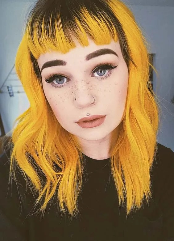 Yellow Hair Colors & Hairstyles with Bangs in 2018
