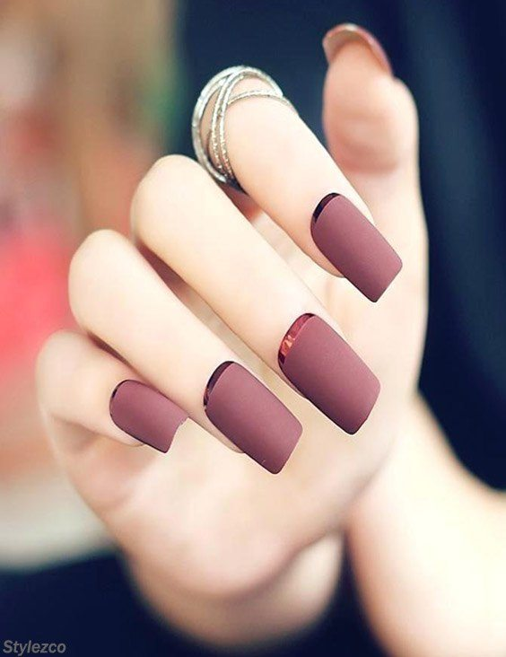 Fancy Fake Nails with Brown & Red Scrub for 2018