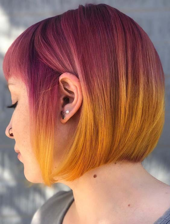Purple To Yellow Hair Colors For Short Hair 2018