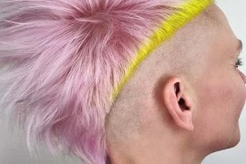 Gorgeous Pink And Neon Yellow Colors for Mohawk Pixie haircuts in 2019