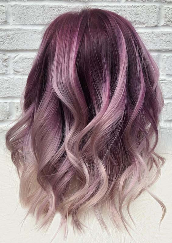 Wonderful Purple Hair Color Shades with Blond Highlights ...