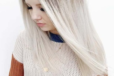 Bright White Blonde with Dark Roots in 2019
