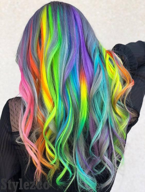 Elegant Rainbow Hair Color Ideas & Styles for 2019