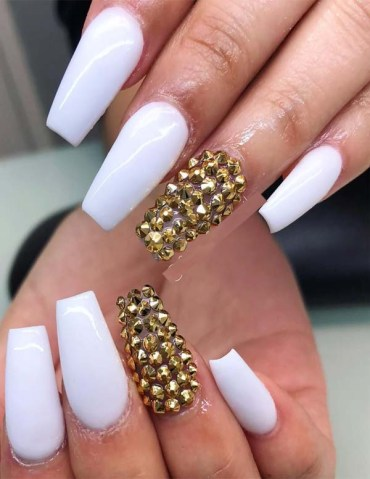 Super White Acrylic Nail Designs in 2019