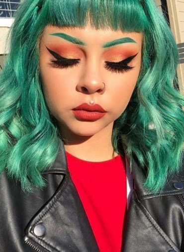 Aquamarine Green Hair Colors And Makeup Ideas for Girls 2019