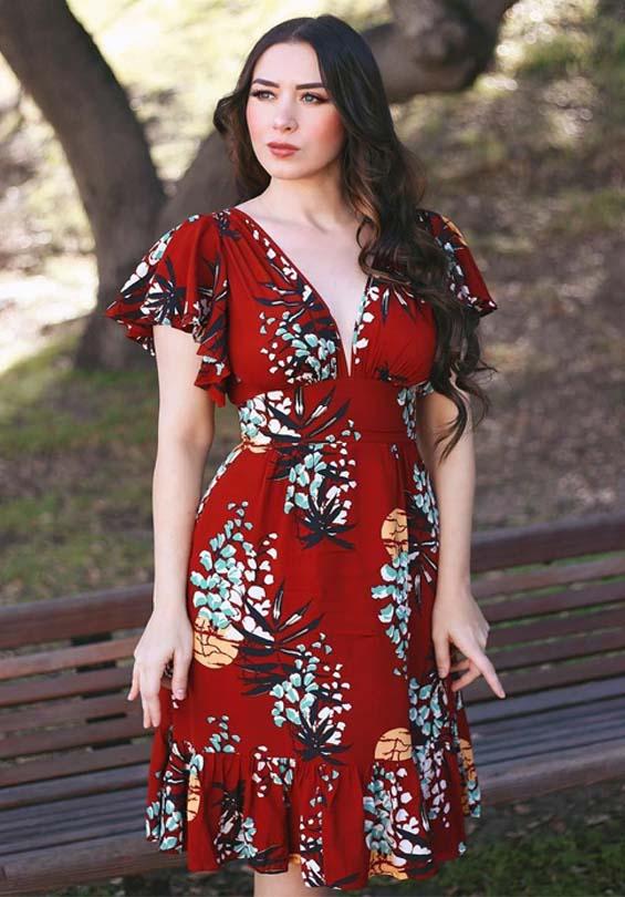 Flutter-sleeved Velvet Dresses Ideas for 2019