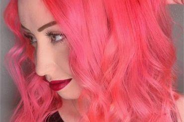 Elegant Pink Medium Length Hairstyle Look for Girls