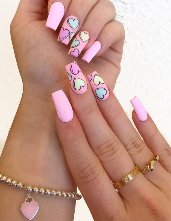 Hottest Pink Heart Nail Art Designs for 2019