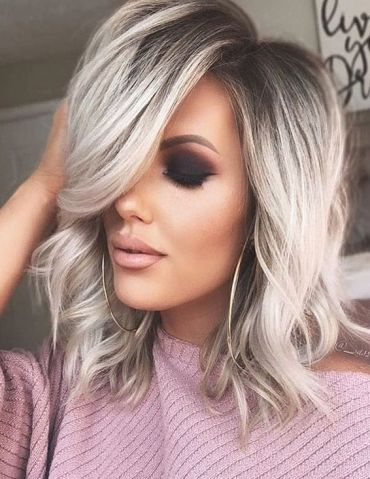 Awesome Silver Shoulder Length Hairstyles In 2019