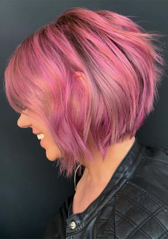 Fantastic Pink Short Bob Haircut Styles For Ladies In 2019 Stylezco