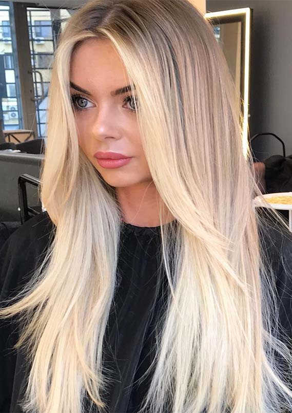 Cutest Bright Blonde Highlights For Sleek Straight Hair In