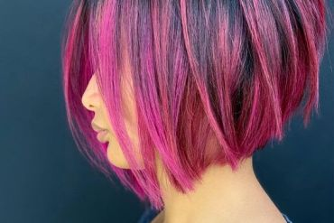 Pink Fruit Balayage Hairstyle for Short Hair