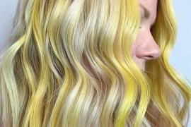Beautiful yellow balayage hair color shades & highlights