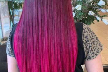 Sleek Straight Pink Hairstyles for Women 2019