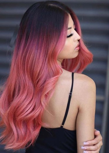 Amazing Pink Hair Colors with Dark Root to Sport in 2020
