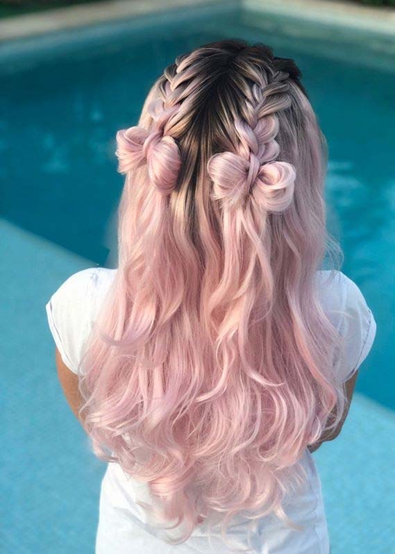 Double French braids into bows for Ladies in year 2020