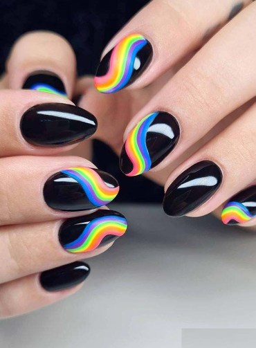 Fresh Rainbow on Black Nail Arts and Images