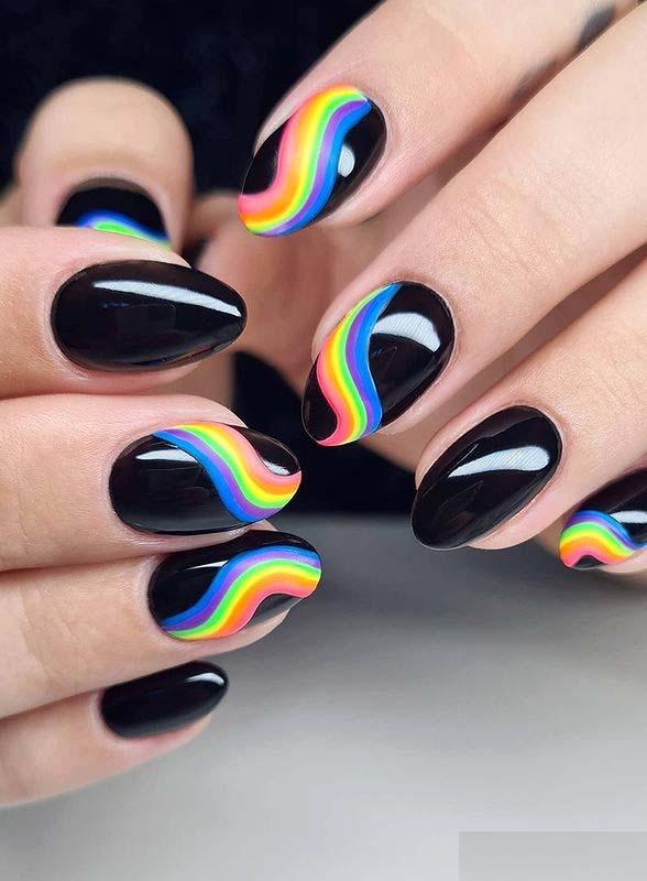 Fresh Rainbow on Black Nail Arts and Images
