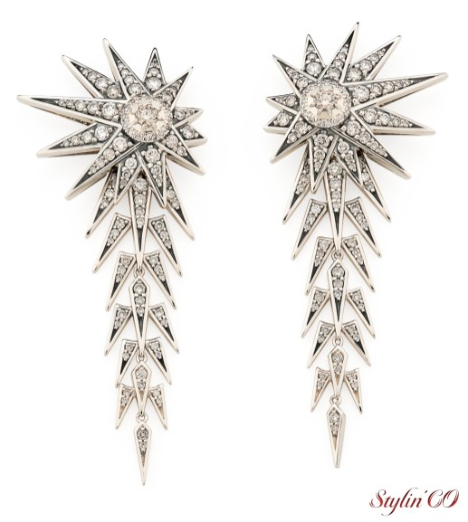 Halley inspired earrings in Noble Gold with cognac diamonds