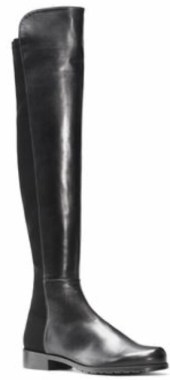leather and microstretch flat over-the-knee boots