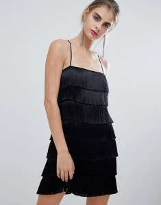Bershka Layered Fringe Mini Dress