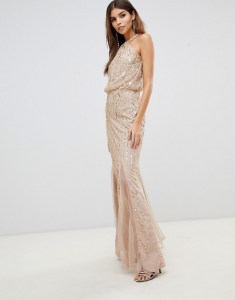 Lipsy Twist Neck Sequin Maxi Dress