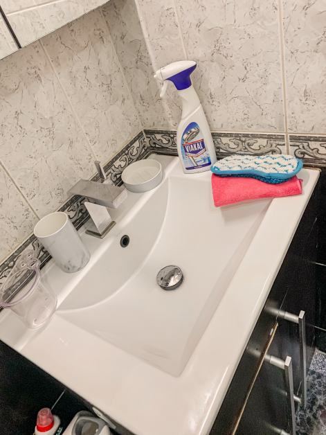 bathroom cleaning products on sink