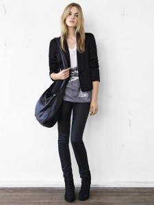 Pleat shoulder blazer $299; graphic tee $49.95; skinny stretch jeans $99; leather sling $229; suede ankle boots $199