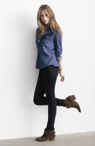 Country Road Indigo Western shirt $99; white slub tunic $49.95; Late Night Darted Knee Detailed jean $129; Rich Brown Tess Suede ankle boot $199. www.countryroad.com.au