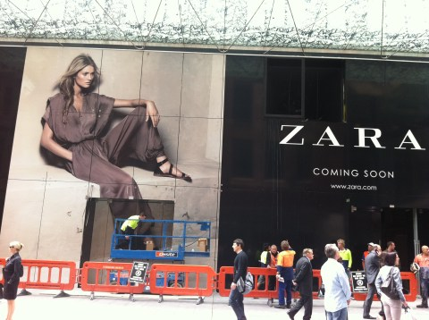 This sign alone worked to create a buzz around Zara opening in Sydney. Photo: Nikki Parkinson