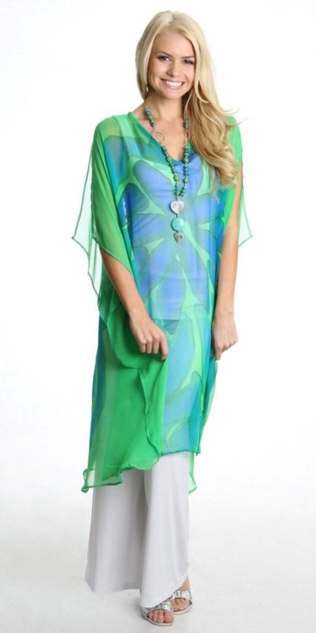 Eco Diva long green kaftan rrp $179