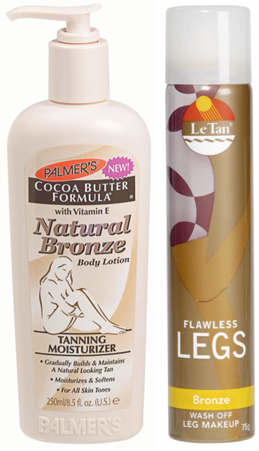 tanners: Palmer's Cocoa Butter Natural Bronze body lotion; Le Tan Flawless legs