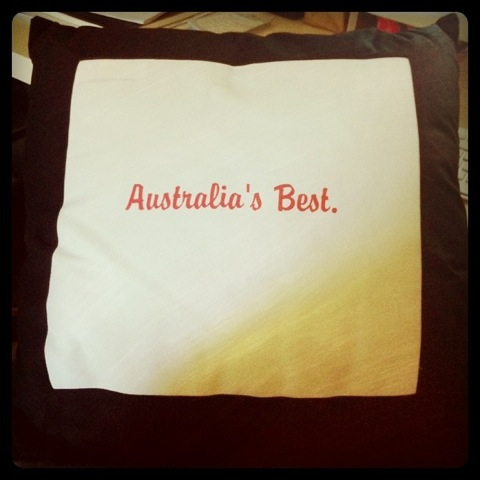 The cushion Madam Bipolar (aka Sawhole) sent me after my Sydney Writers' Centre Best Australian Blog win. Love that girl.