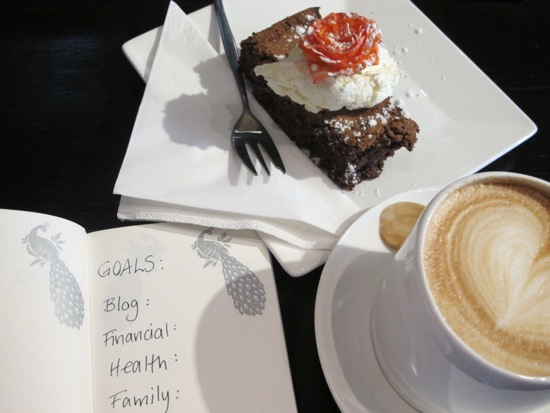 Setting goals with coffee and cake