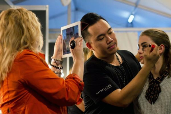 Me on the job, filming Maybelline makeup artist Nigel Stanislaus during my week at fashion week blogging for Maybelline. Photo: www.businesschic.com.au