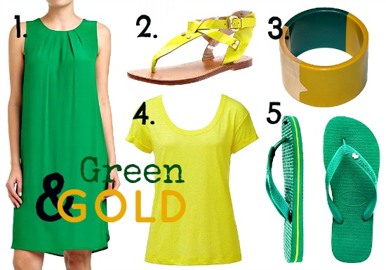 Supporting the Aussie Olympics team by wearing green and gold