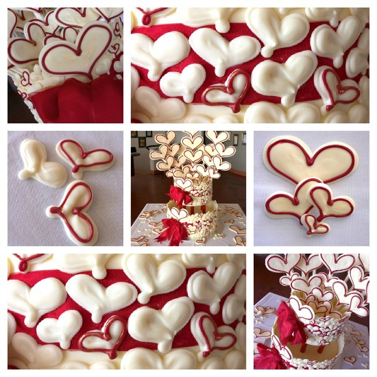 White chocolate red heart and Belgian mud cake wedding cake
