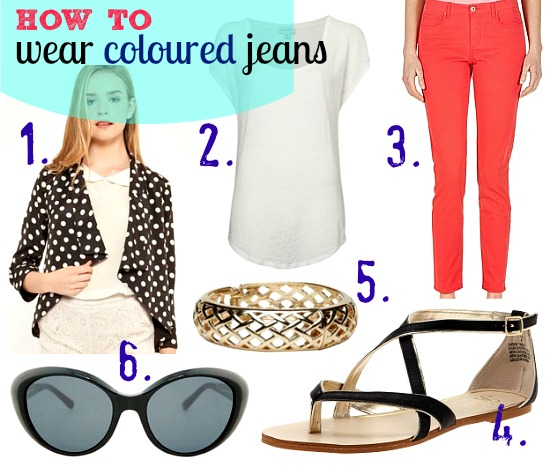 how to wear coloured jeans