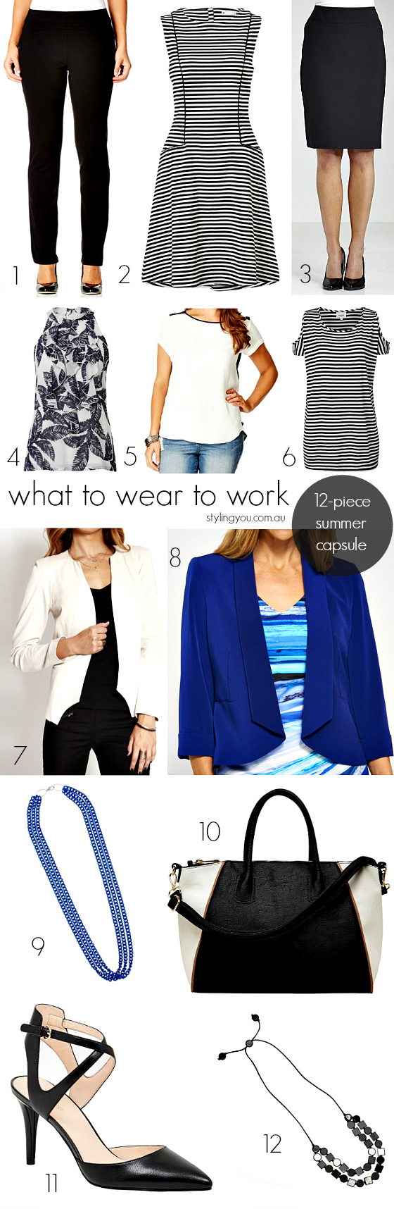 What to wear to work - summer  12-piece capsule wardrobe