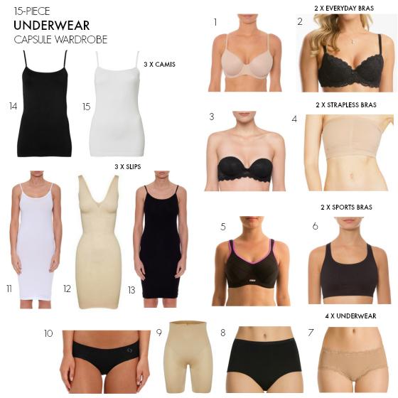 15-piece underwear essentials capsule wardrobe