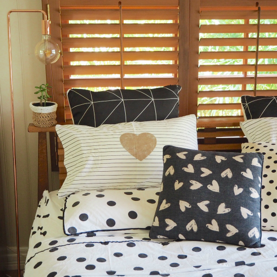 Collected sheets | I Love Linen heart pillow case and cushion | Aura European pillowcase | Freedom spotty cushion