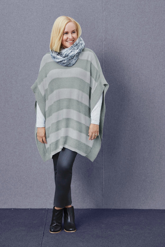 Katies AW16 poncho, jeans, top, scarf