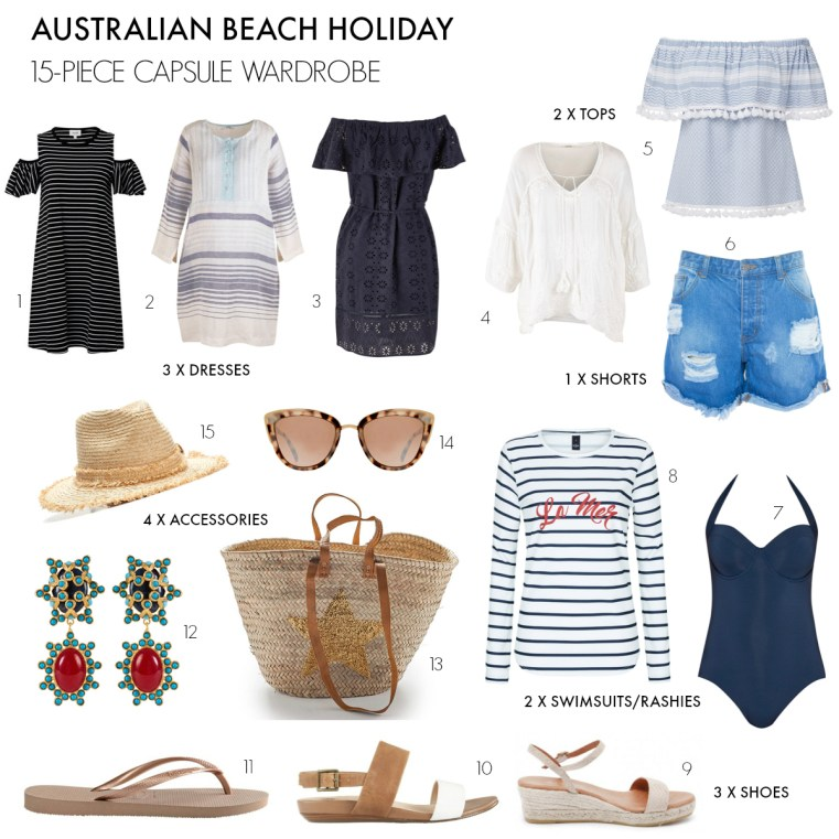 What to pack for an Australian beach holiday | 15-piece capsule wardrobe