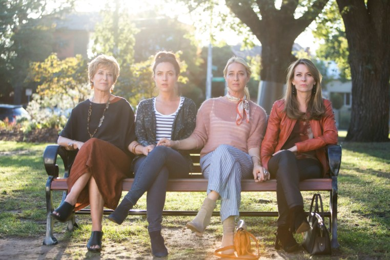 Offspring's costume designer talks Nina Proudman style for season 7 | Asher Keddie wears Scotch and Soda knit vintage scarf custom-made pant Seed boots