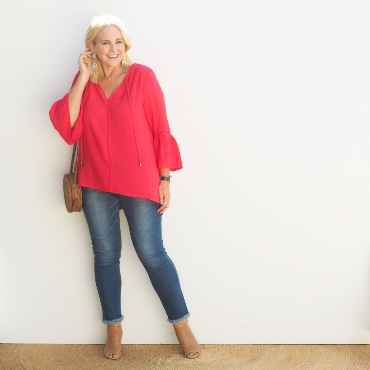 Motto top and jeans | FRANKiE4 Footwear EDDiE in light tan