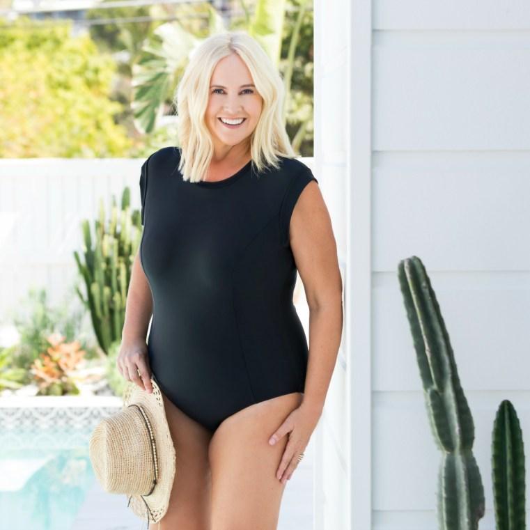 Lilly & Lime Swimwear The Juliette Cap Sleeve one-piece in black