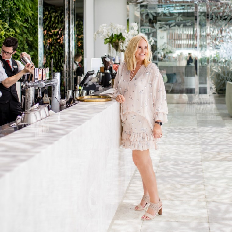 FRANKiE4 Footwear NiKKi heel in blush punched White Label Noba top and shorts Location The Terrace Emporium Brisbane