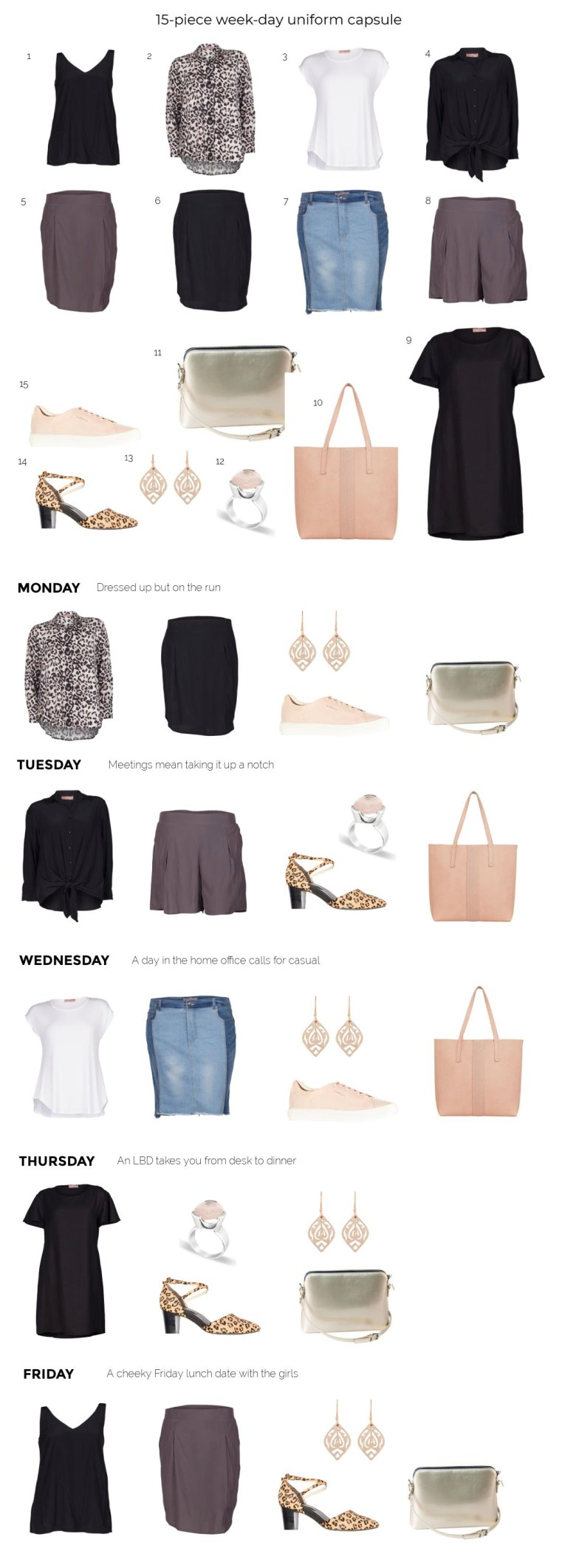 15-piece week-day uniform capsule | Styling You The Label